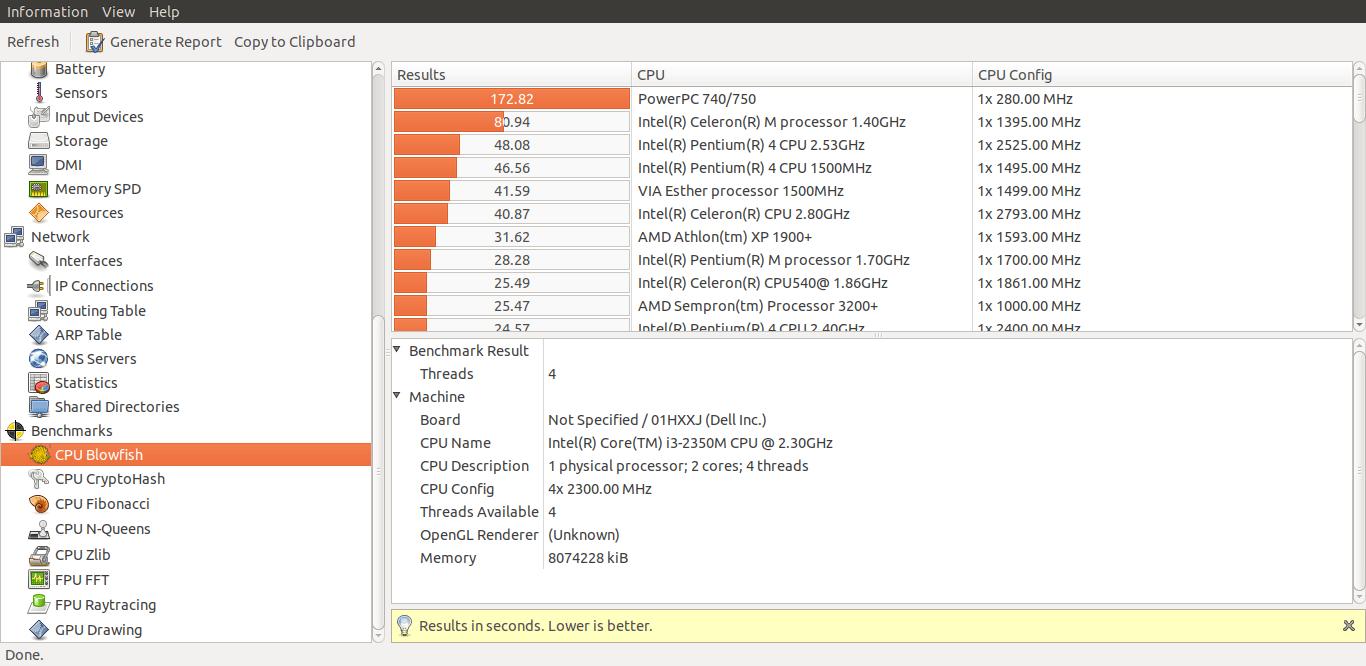 Perform benchmarks using hardinfo