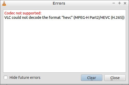 Vlc audio codec not supported