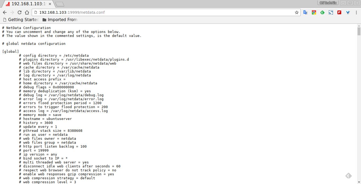 NetData configuration file