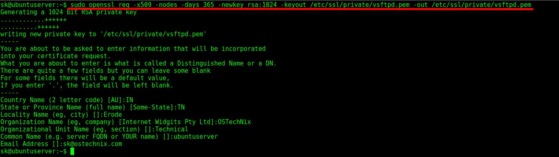 Secure VSFTPD server with TLS/SSL encryption
