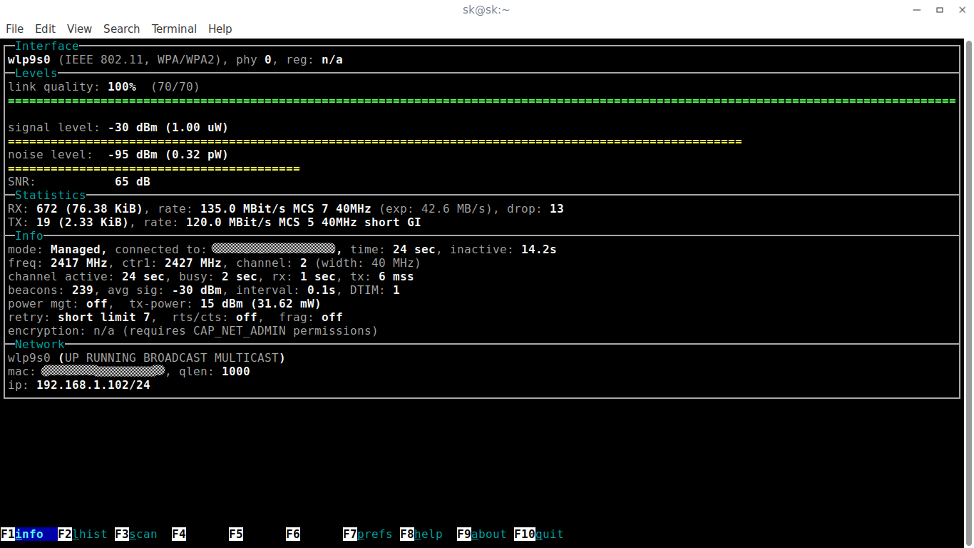 sk@sk_006-1 Monitore seu WiFi  no Linux com o Wavemon