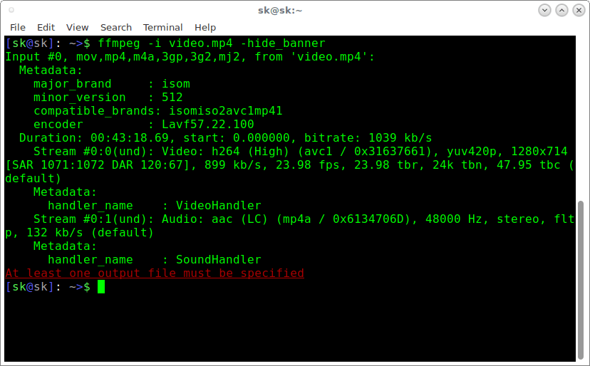 View audio, video file information using FFMpeg