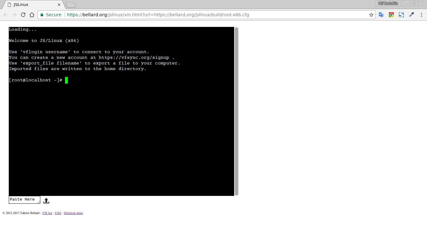 JSLinux in action