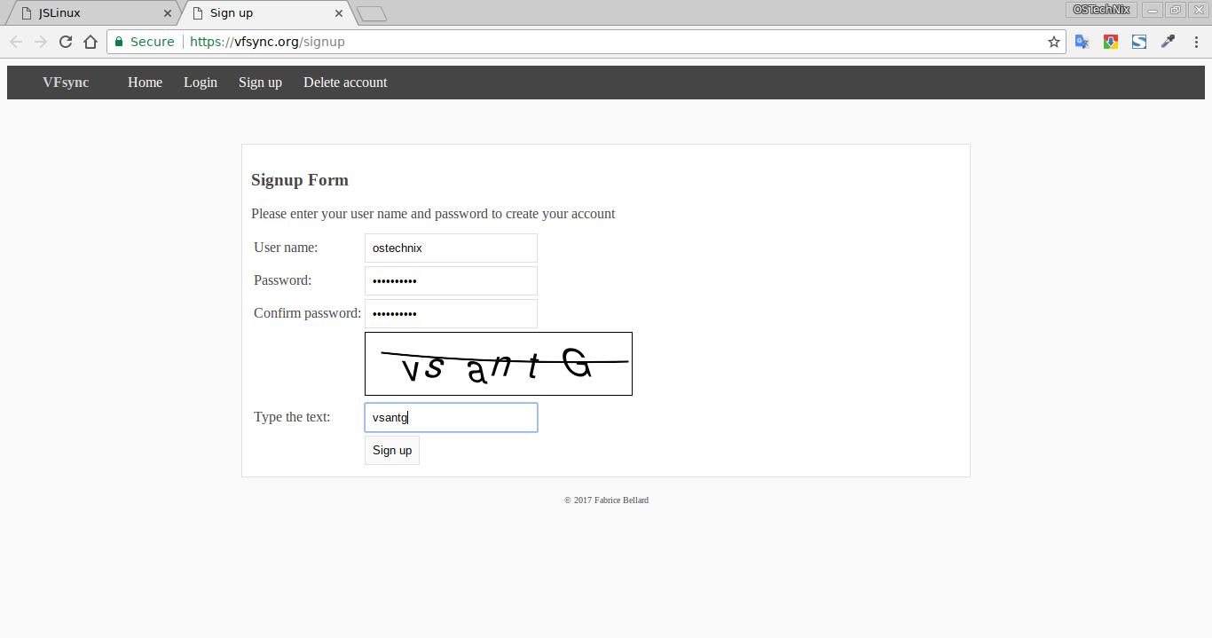 Create an account JSLinux website