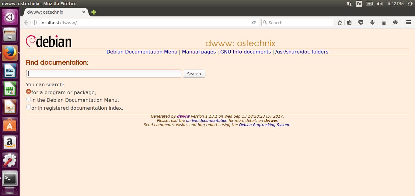 Dwww - View Complete Debian Documentation Offline Via Web Browser