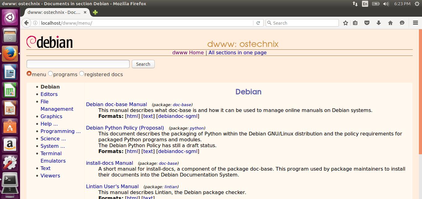 Dwww - View Complete Debian Documentation Offline Via Web