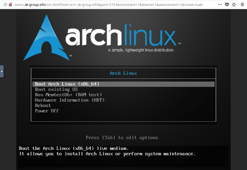 Here is the Arch Linux live system: