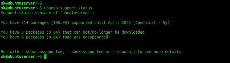 ubuntu support status