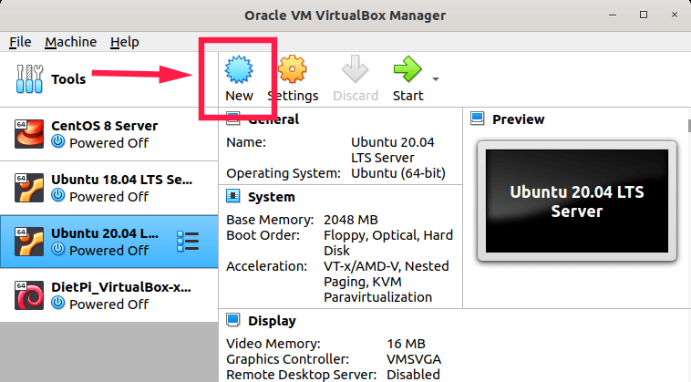 Create new virtual machine in virtualbox