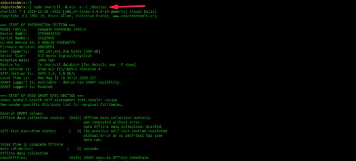 Find Hard Disk Drive Details In Linux Using Smartctl