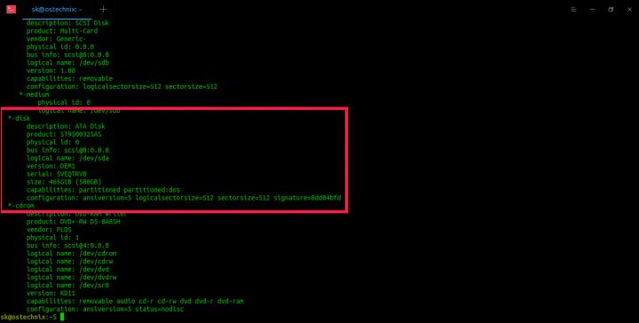 Find Hard Disk Drive Details In Linux Using lshw
