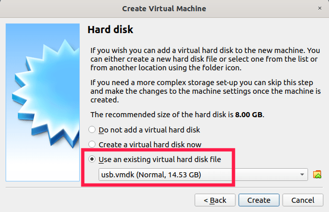 vmdk file is selected as the virtual hard disk